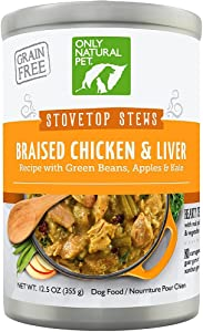 Only Natural Pet Stovetop Stews Grain-Free, Premium Wet Canned Dog Food, Braised Chicken & Liver Stew 12.5 oz Cans (Case of 12)