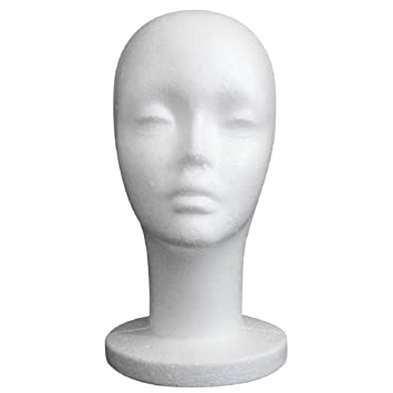 Lookatool Female Styrofoam Mannequin Manikin Head Model Foam Wig Hair Glasses Display