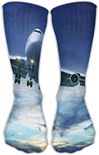 Voxpkrs Printed Air Plane Unisex High Compression Socks Soccer Knee Long Stockings Ankle Socks Sport Casual Socks S10
