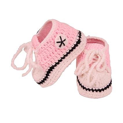 YeahiBaby Calcetines hechos a mano del ganchillo del bebé Calcetines calientes Zapatos de los botines para