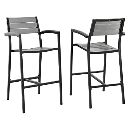 Amazing Modway Maine Aluminum Outdoor Patio Bar Stools In Brown Gray   Set Of 2