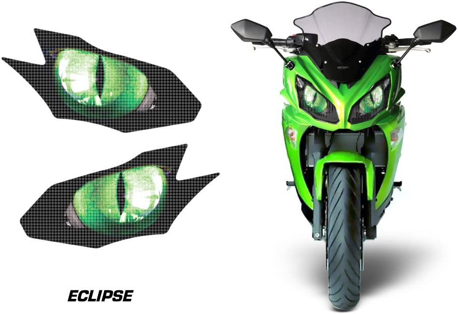 AMR Racing Sport Bike Headlight Eye Graphic Decal Cover for Kawasaki Ninja 650R 12-14 - Eclipse Green