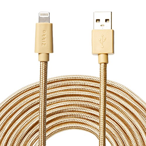 Zikko 16Ft Extra Long Lightning Cable - MFi Certified - 2.4A Charge and Sync, Nylon Braided for iPhone iPad iPod - 16Ft(5M) Gold
