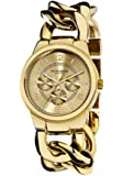Akribos XXIV Women's Multifunction Gold Sub-Dial Watch - Sunburst Dial - Date Day Subdial - Twist Chain Link Bracelet Strap - AK531