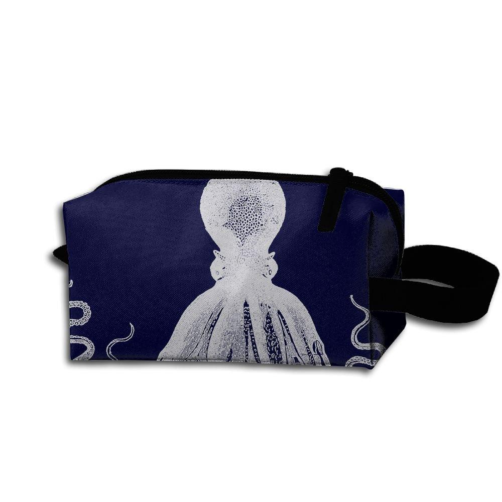 メイクアップコスメバッグ 青いタコのアートイラスト メディシンバッグ ジップ 旅行 ポータブル 収納ポーチ メンズ レディース B07DWL4W42