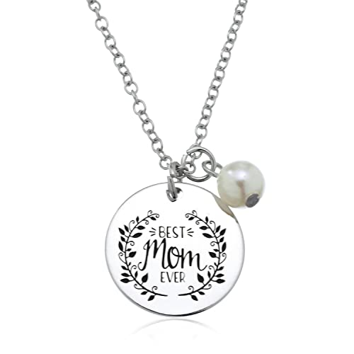 e02fbb80eb8bc PammyJ Gift for Mother - Best MOM Ever Charm Necklace - Mom Birthday Gifts