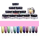 Coromose 12 Colors Nail Glitter Powder Shinning Nail Mirror Powder Makeup Art DIY Chrome Pigment With Sponge Stick