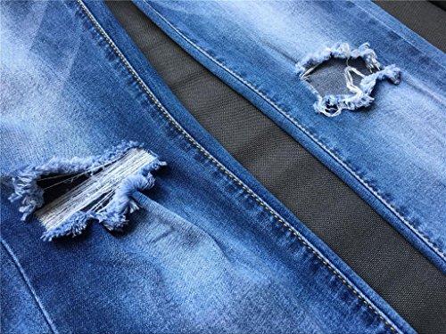 Byjia Mujer Jeans De Cintura Alta Rasgado Disco Deshilachado Flaco Slim Lápiz Pantalón Retro Lavado Borla Irregular Nueve Pantalones Blue