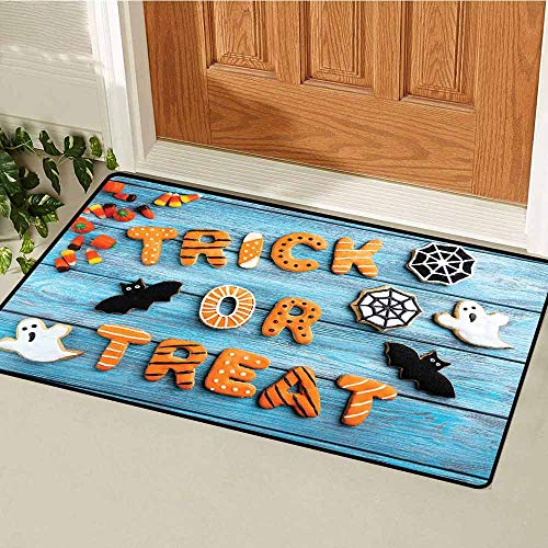 Gloria Johnson Vintage Halloween Universal Door mat Trick or Treat Cookie Wooden Table Ghost Bat Web Halloween Door mat Floor Decoration W29.5 x L39.4 Inch Blue Amber Multicolor
