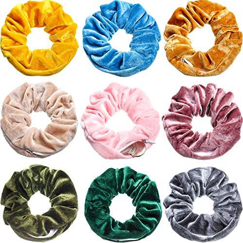 9 Pieces Velvet Pocket Hair Scrunchies Hidden Pocket Hair Ties Elastic Zipper Scrunchies with Zipper Pocket Storage for Women Girls Hair Accessories