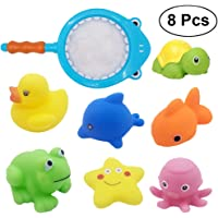 YeahiBaby Juguetes de Baño Animales Bañera Juguetes de Pesca para Bebés Juguetes Niños Para Bañera Conjunto Arena Pesca Juguete 8 Piezas