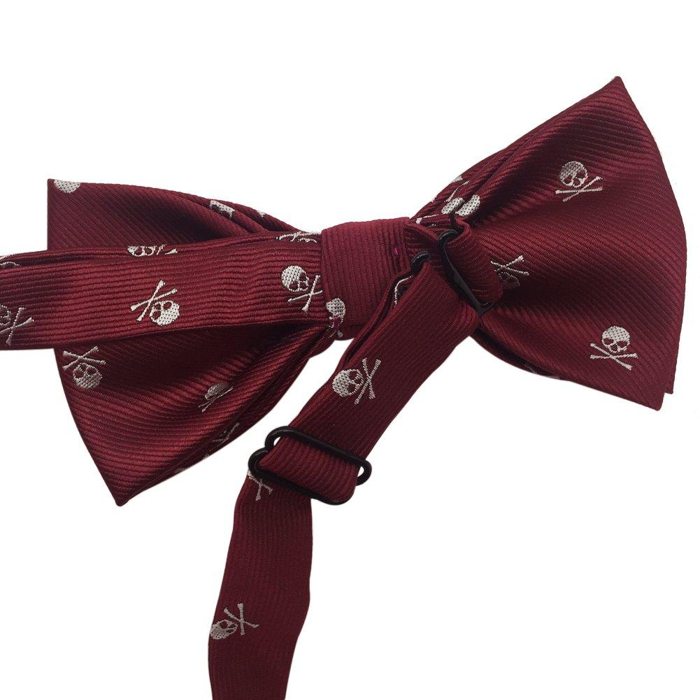 Mens Premium Pre-tied Adjustable Neck Tie Polyester Skull Pattern Bowtie (Red)