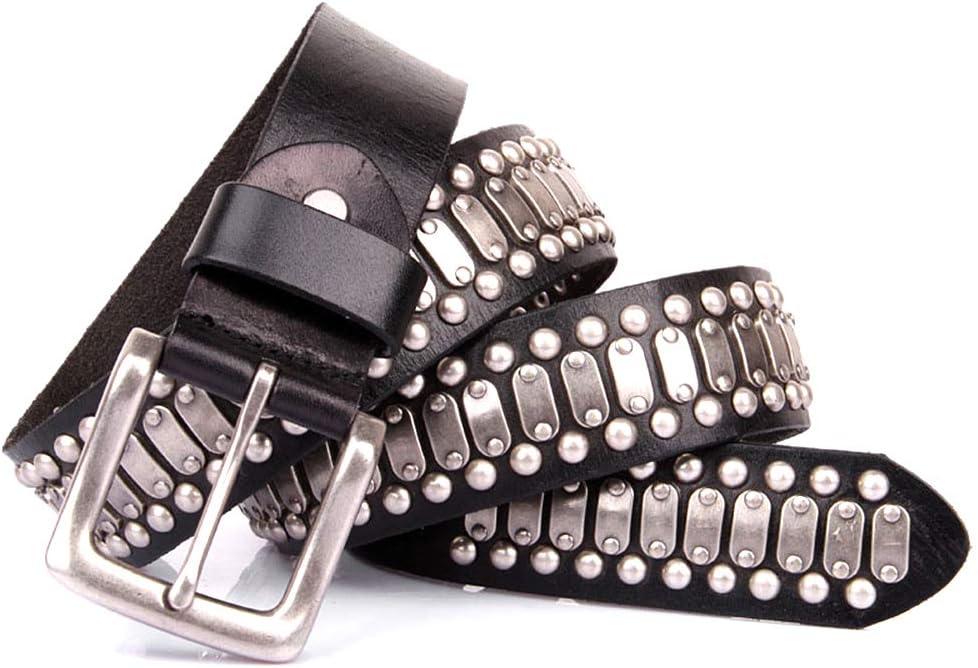 JMFHCD Cinturón Hombre Cuero Negro, Hombre Remaches Punk Hip Hop Harley Rock Cinturones 3.8CM con Retro Aleación Antiarañazos Hebilla, para Uso Informal, Jeans,115cm