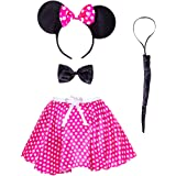 New Adult Minnie Mouse Ladies Fancy Dress Tutu Ears Glove Leg warmer Set outfit