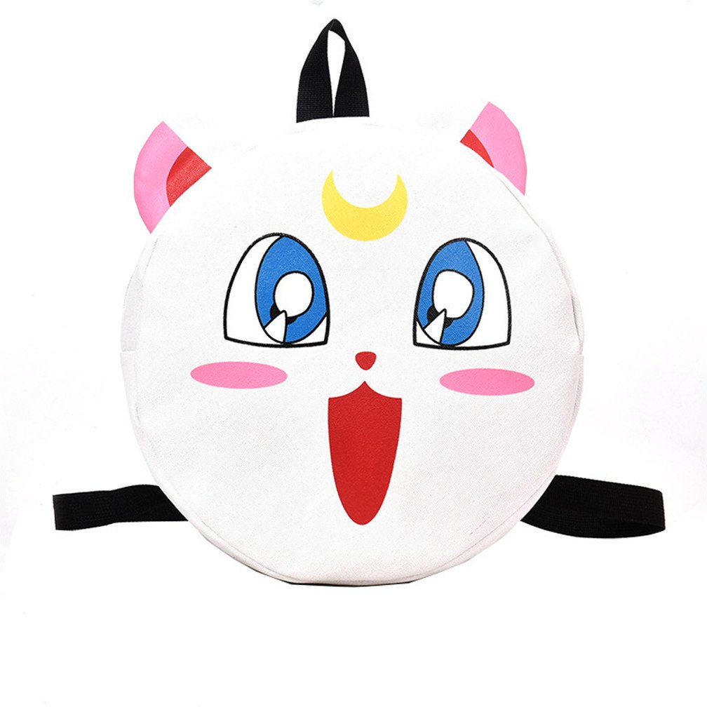 YOYOSHome Sailor Moon Anime Cosplay Luna Backpack Messenger Bag School Bag Shoulder Bag (White)