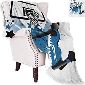 MKOK Teen Room Commercial Grade Printed Blanket Silhouette of Basketball Player Jumping Success Stars Illustration Queen King W91 x L60 Inch Black and Violet Blue