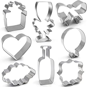 ANPOPO Wedding Ornament Cookie Cutter Set - 8 Piece - Champagne, Champagne Glass, Heart, Gift Box, Balloon, Bow, Square and Oval Plaque Biscuit Cutters for Bridal Shower Engagement