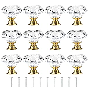 [12 PCS] 30mm Crystal Clear Glass Cabinet Drawer Pulls Golden Base, Tomorotec Diamond Shape Cupboard Knobs with Screws for Kitchen, Dresser, Cupboard, Bathroom, Wardrobe (1.2 inch / 30 mm)