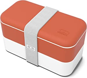 monbento - MB Original bento Box - 2 Tier Leakproof Lunch Box for Work/School Lunch Packing and Meal prep - BPA Free - Food Grade Safe Food containers (Brick)