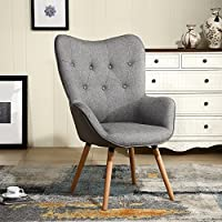 LSSBOUGHT Mid Century Modern Muted Fabric Arm Chair Stylish Fabric Accent Chair (Gray)