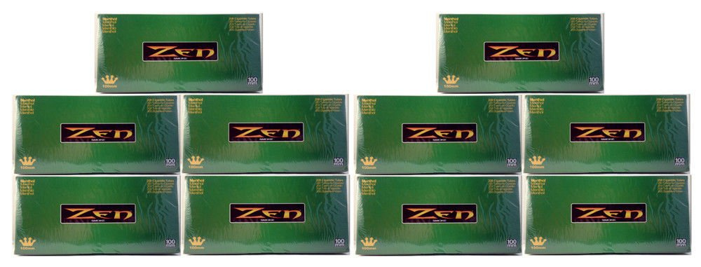 Zen 100 mm 100's Size Cigarette Filter 200 Tubes Menthol (10)