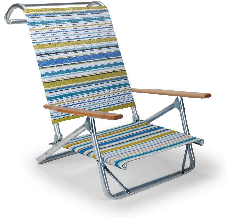 Telescope Casual Original Mini-Sun Chaise Folding Beach Arm Chair, Coastline
