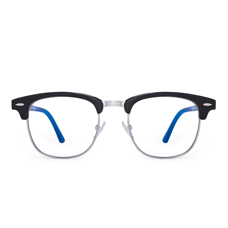 GLINDAR Bleu Lumi/ère Blocage Lunettes Ordinateur R/étro Demi Cadre Style R/éduire Fatigue Oculaire Lunettes de Jeu Vid/éo Hommes Femmes