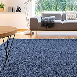iCustomRug Cozy and Soft Solid Shag Rug 10X12 Indigo Blue Ideal to Enhance Your Living Room and Bedroom Decor