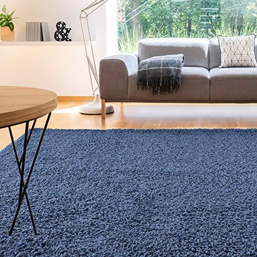 iCustomRug Cozy and Soft Solid Shag Rug 10X12 Indigo Blue Ideal to Enhance Your Living Room and Bedroom Decor