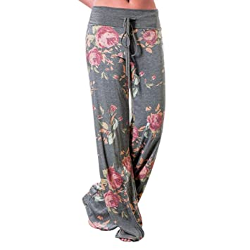 cffa9e7e6c U.Expectating Women Trouser Casual Women Floral Prints Drawstring Wide Leg  Pants Leggings Comfortable Loose