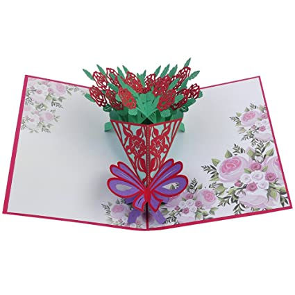 Amazon rose flower pop up card3d cardgreeting cardfathers rose flower pop up card3d cardgreeting cardfathers day card m4hsunfo
