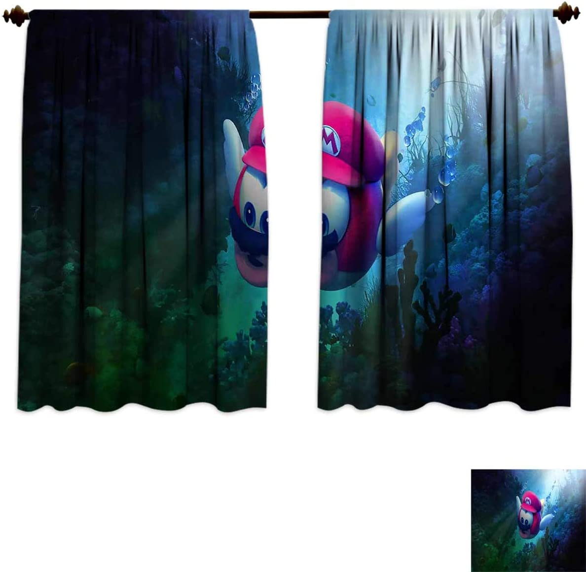 Darlene Harts Black Eclipse Nursery Curtains 84 Inches Long Super Mario 3D Background Light Blocking Curtains for Nursery 72×84 Inch