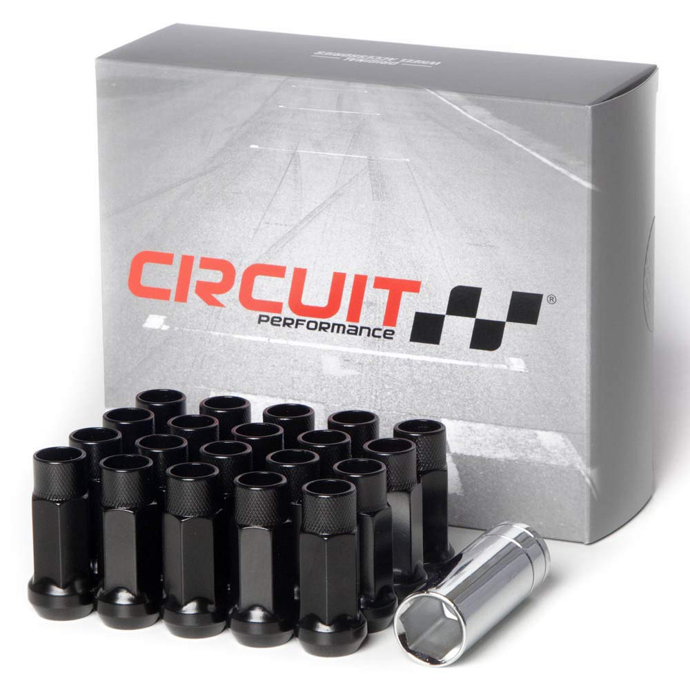 "Circuit Performance Forged Steel Extended Open End Hex Lug Nut Aftermarket Wheels: 1/2""-20 Black - 20 Piece Set + Tool"
