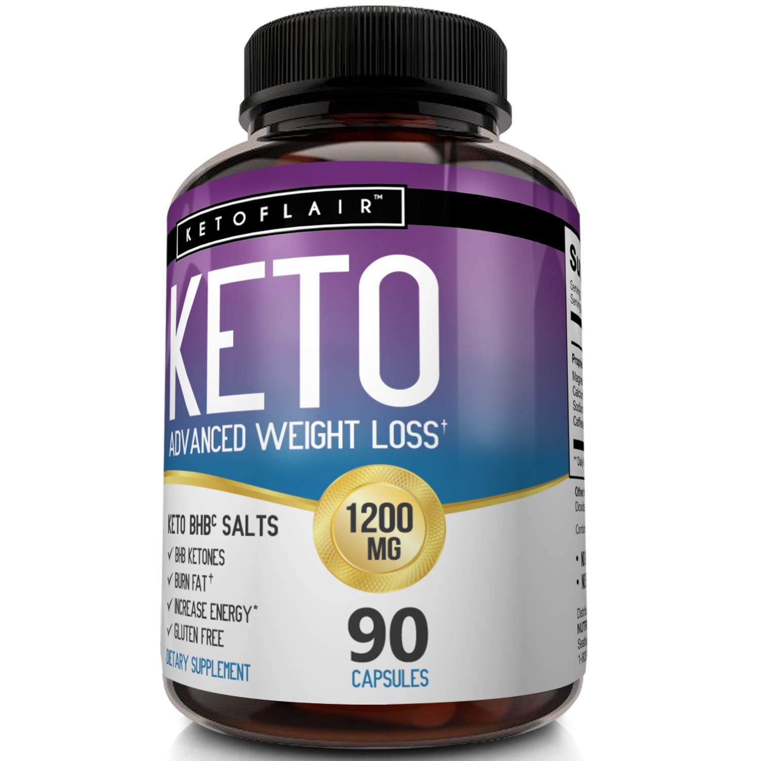 Best Keto Diet Pills GoBHB 1200mg, 90 Capsules Advanced Weight Loss Ketosis Supplement - Natural BHB Salts (beta hydroxybutyrate) Ketogenic Fat Burner, Carb Blocker, Non-GMO - Best Weight Loss Support by NutriFlair (Image #7)