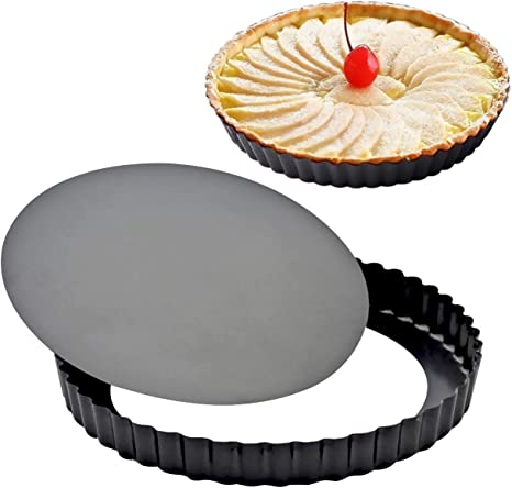 A Non-Stick Carbon Steel Quiche Pan Removable Loose Bottom Mini Tart Tins for Pies Desserts Cheese Cakes Transser Mini Tart Pan Quiche Pan and More