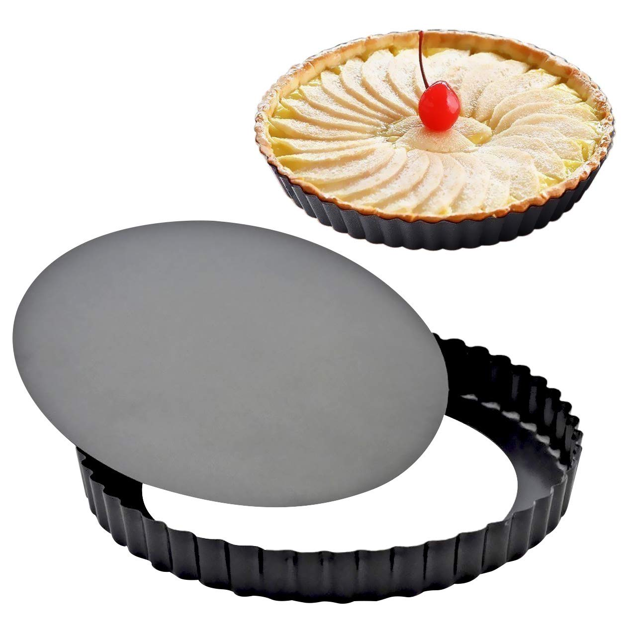 2 Pack Attmu 9 Inches Non-Stick Removable Loose Bottom Quiche Tart Pan, Tart Pie Pan, Round Tart Quiche Pan with Removable Base by Attmu