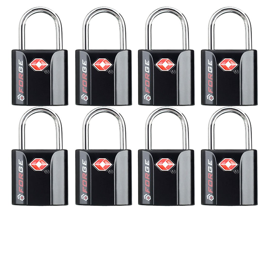 Black 8 Pack TSA Approved Luggage Locks by Forge