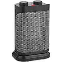 VonHaus 1500W Oscillating Ceramic Heater Personal Space Heater with Adjustable Thermostat and Overheat Protection - Black & Grey Portable Floor Heater Ideal for Small Rooms, Desks and Offices