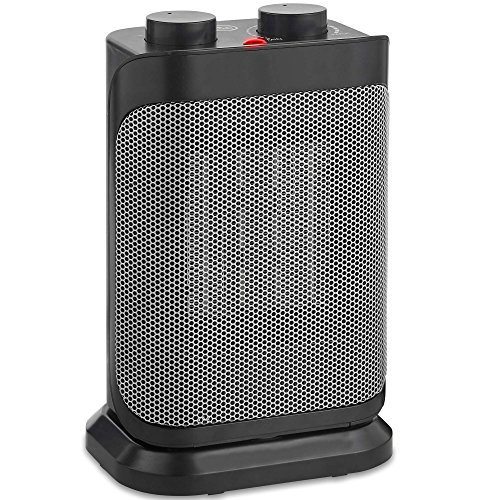 VonHaus 1500W Oscillating Ceramic Space Heater with Adjustable Thermostat, 2 Heat Settings, Fan Setting and Overheat Protection – Portable and Freestanding in Black