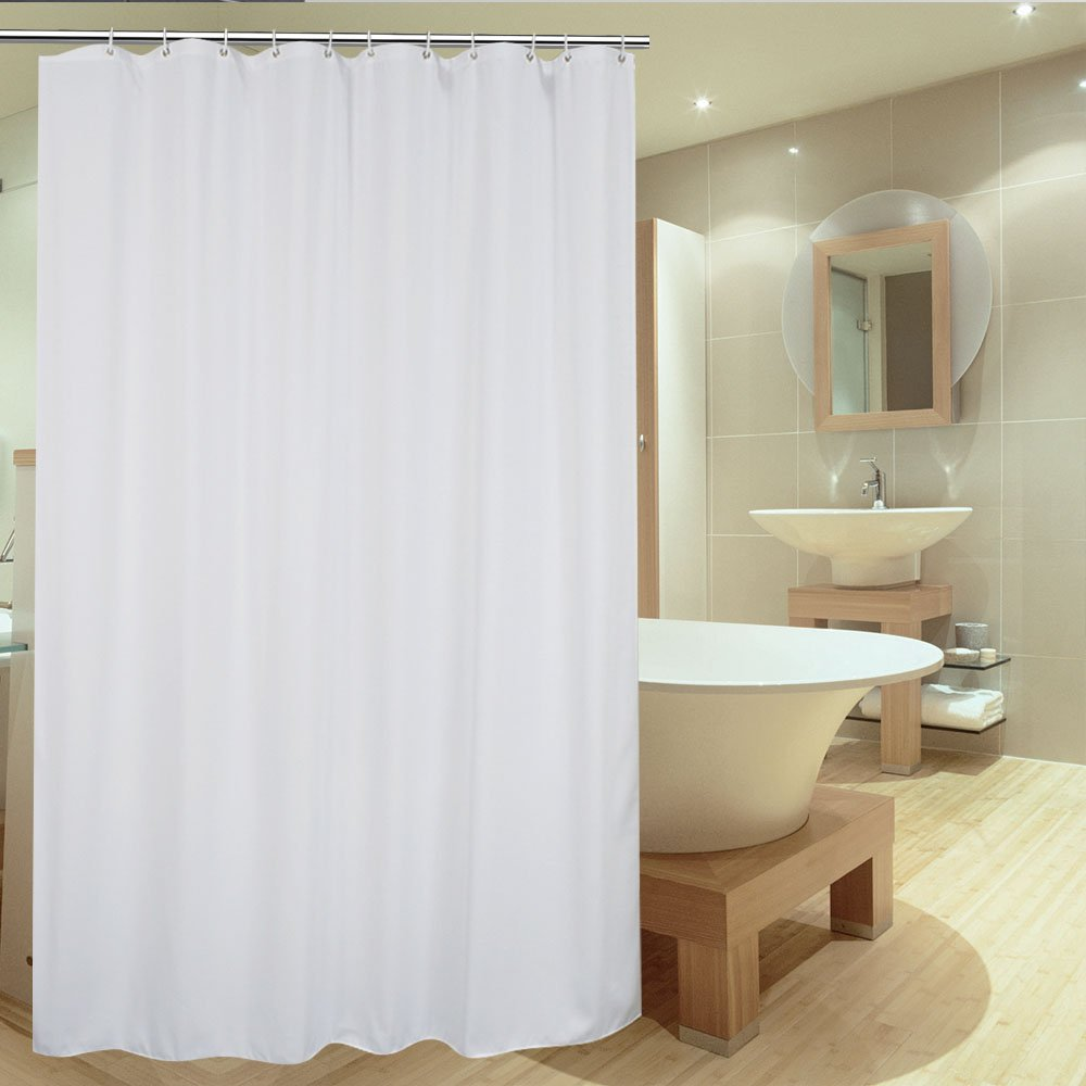 UFRIDAY Fabric Shower Curtain Liner Mildew-Resistant, Elegant White Polyester Water Proof with Metal Grommets, Solid Hotel Bath Curtain Durable and Sturdy, Suitable for Any Decor, 72 x 72-inch