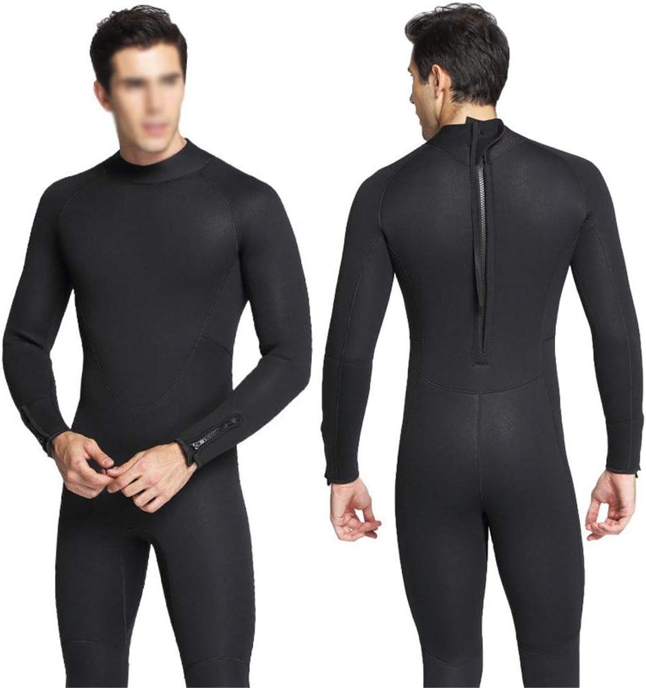 メンズウェットスーツ5mmのダイビングのための熱長袖のネオプレンのウェットスーツの全長 (色 : ブラック, サイズ : S) ブラック Small
