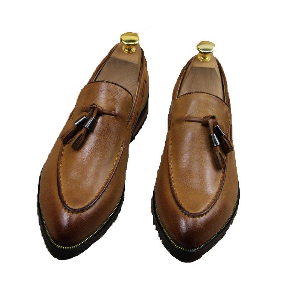 Los Zapatos De Cuero De Los Hombres Señalaron Borla Ayuda Baja Decorativa Respirable Compuesto único Cómodo Antideslizante Usable Tres Colores 39 EU|Yellow