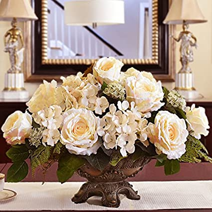 Amazon cream rose and hydrangea silk flower arrangement ar405 cream rose and hydrangea silk flower arrangement ar405 mightylinksfo