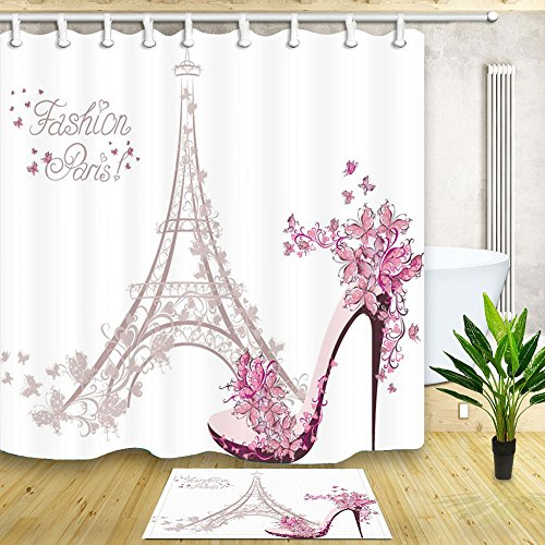 - NYMB Eiffel Tower Shower Curtain for Bathroom, High Heeled Shoes and Flower in Paris, 69X70in Polyester Fabric Curtains with 15.7x23.6in Flannel Non-Slip Floor Doormat Entrance Mats
