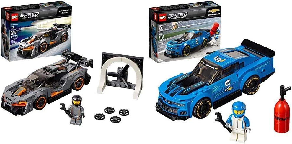 LEGO Speed Champions McLaren Senna 75892 Building Kit (219 Pieces) Speed Champions Chevrolet Camaro ZL1 Race Car 75891 Building Kit (198 Pieces)