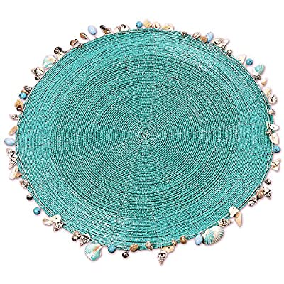 Whole House Worlds The Calypso Celebration Shell Rim Edged Placemats, Set of 2, 14 Inch Diameter, Turquoise Blue Rounds, Seed and Bugle Beads, Sturdy Filigree Weave - ADORNED BY SEASHELLS These turquoise blue place mats bring relaxed vibes and island style to any table they are placed upon. Edged with shore-side treasures, shells, and beads, these stunning place mats are welcome to set the stage for laid back summertime dining. MADE BY HAND, these beaded place mats are meticulously crafted of twisted silver filigree wire and turquoise blue glass seed and bugle beads to form a complex circular composition. Given their handmade and hand-finished nature, slight variations in appearance are to be expected and celebrated. WELL SIZED each place mat in the set measures 14 inches in diameter. Easy to clean, simply wipe with a damp cloth. (Do not wash in dishwasher or washing machine.) - placemats, kitchen-dining-room-table-linens, kitchen-dining-room - 61bluAZQoyL. SS400  -