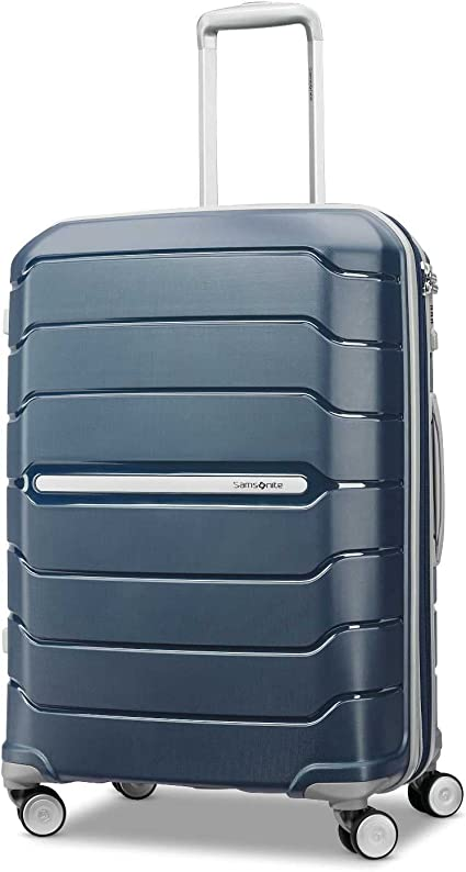 Samsonite Freeform Hardside Expandable with Double Spinner Wheels, Navy, Checked-Medium 24-Inch