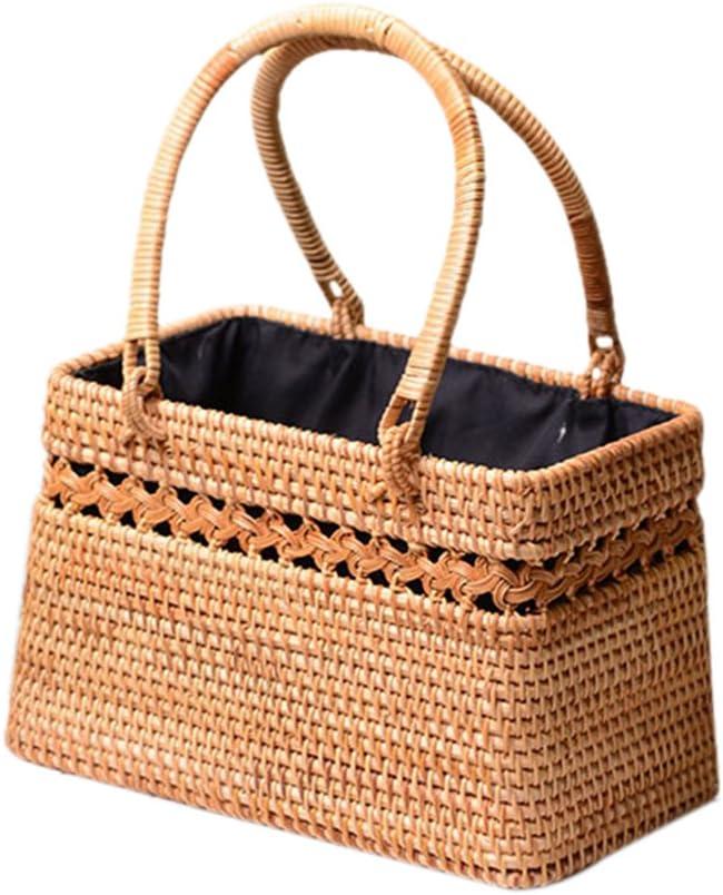cheerfullus Summer Rattan Handbag and Purse Handmade Beach Tote Top-Handle Bag for Women