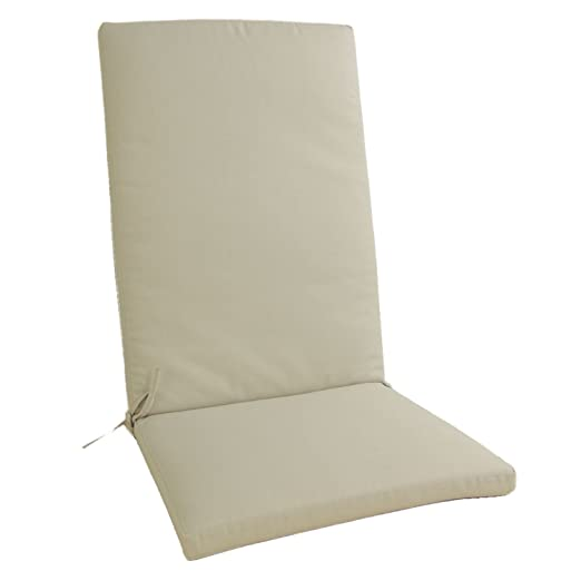 Edenjardi Cojín para sillón de jardín reclinable estándar Olefin Color Crudo, Tamaño 114x48x5 cm, No Pierde Color, Desenfundable