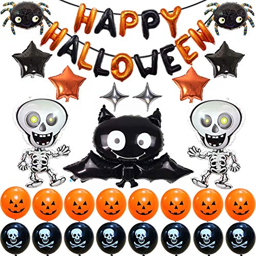 Cute Cartoon Bat Halloween Party Supplies, Halloween Decoration Set With Bat & Skeleton Balloons and Five & Four-Pointed Star Foil Balloons Pumpkin And Pirate Latex Balloons, Full Party Set 41PCS For